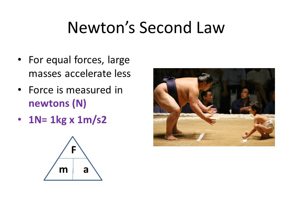 Newton's Second Law For equal forces, large masses accelerate less