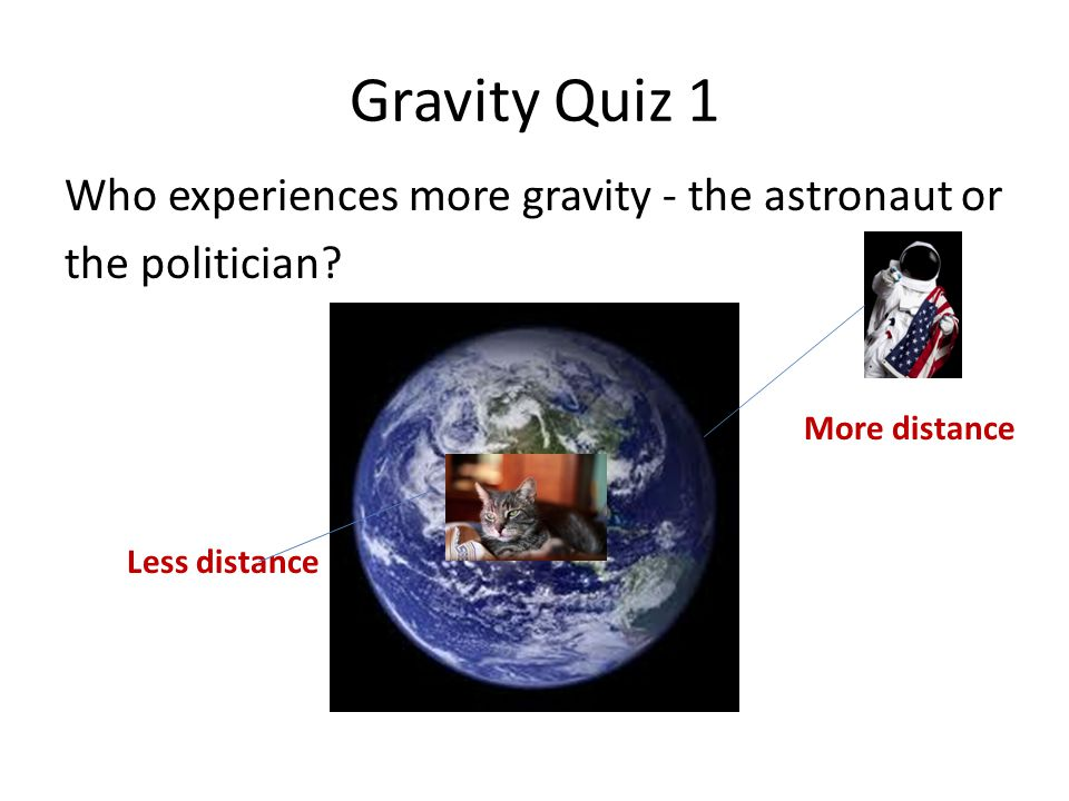 Gravity Quiz 1 Who experiences more gravity - the astronaut or the politician.