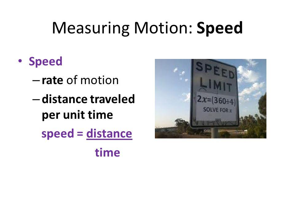 Measuring Motion: Speed