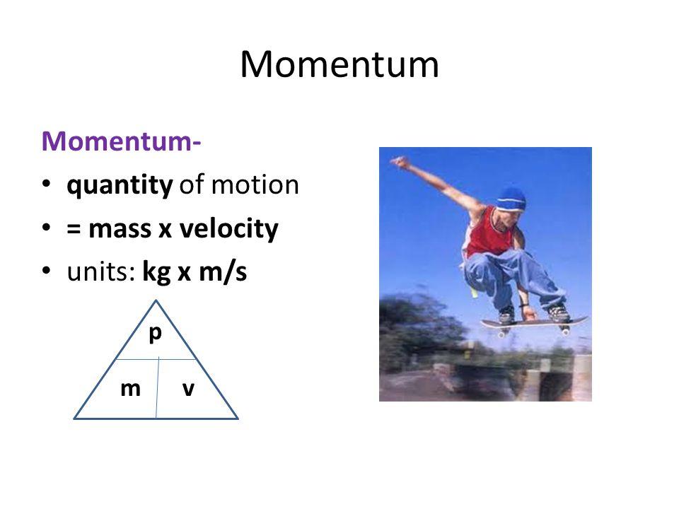 Momentum Momentum- quantity of motion = mass x velocity