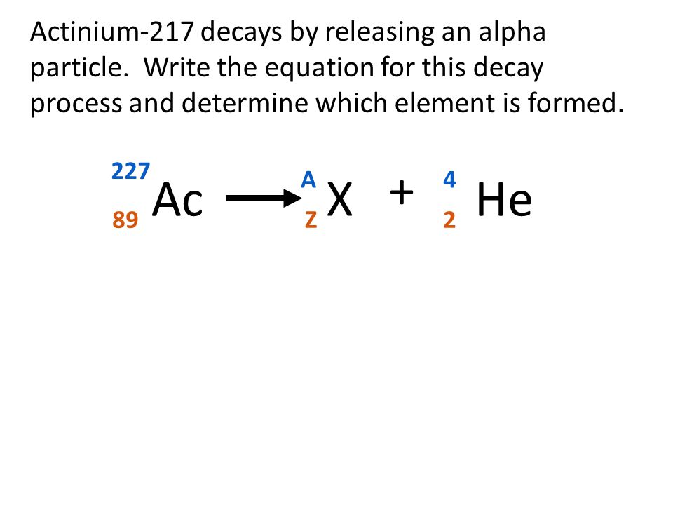 Actinium-217 decays by releasing an alpha particle