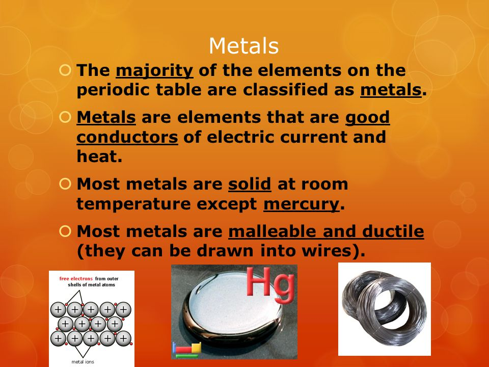 Metals The majority of the elements on the periodic table are classified as metals.