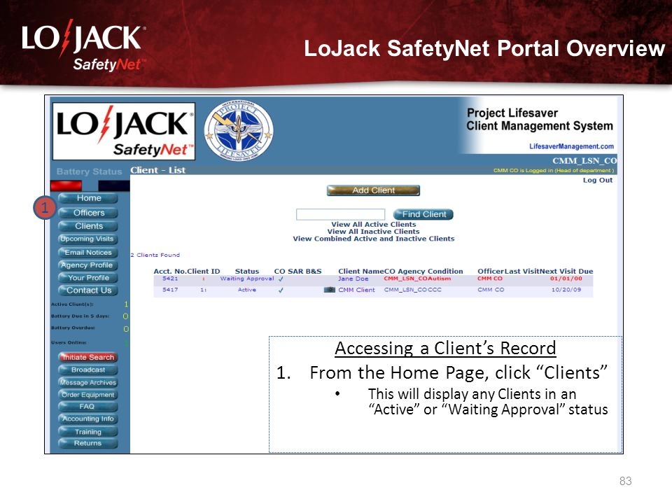 LoJack SafetyNet Portal Overview