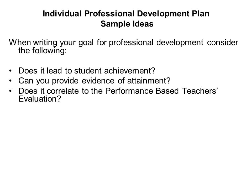 Individual Professional Development Plan Sample Ideas