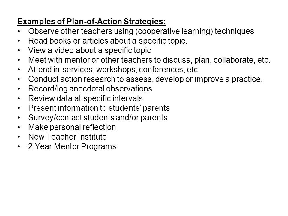 Examples of Plan-of-Action Strategies: