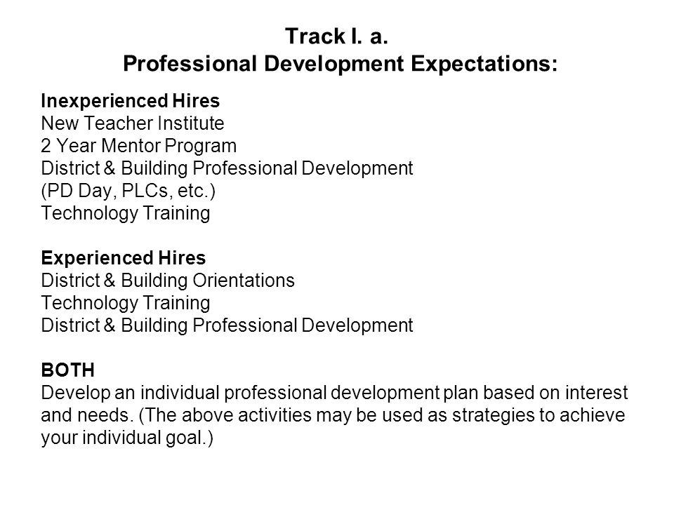 Track I. a. Professional Development Expectations: