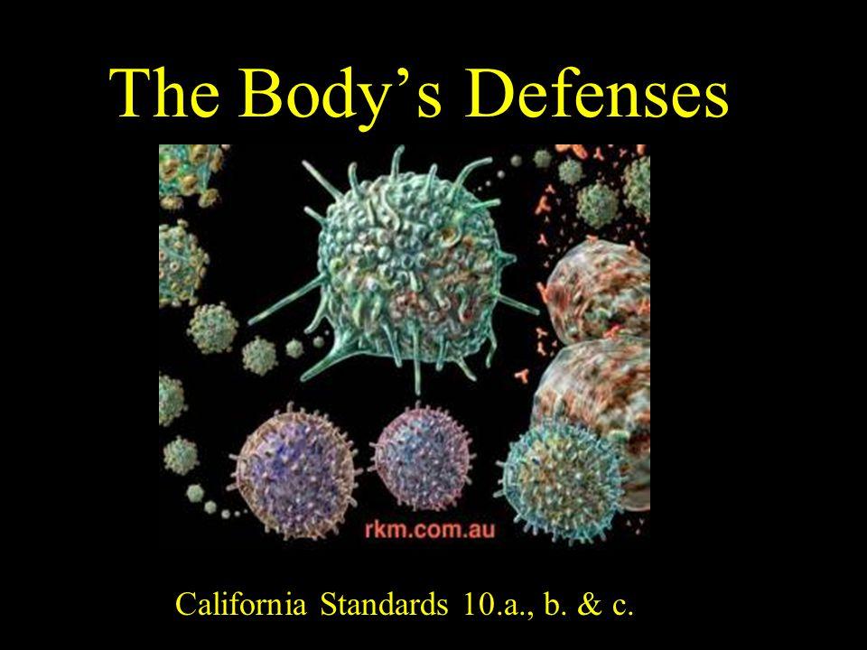 The Body's Defenses California Standards 10.a., b. & c.