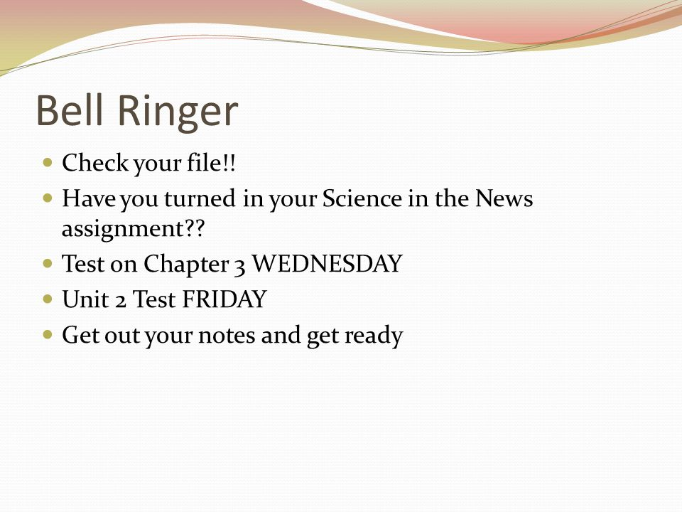 Bell Ringer Check your file!!