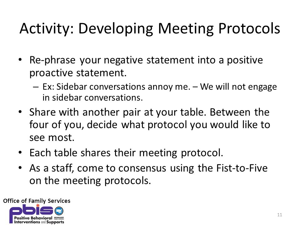 Activity: Developing Meeting Protocols