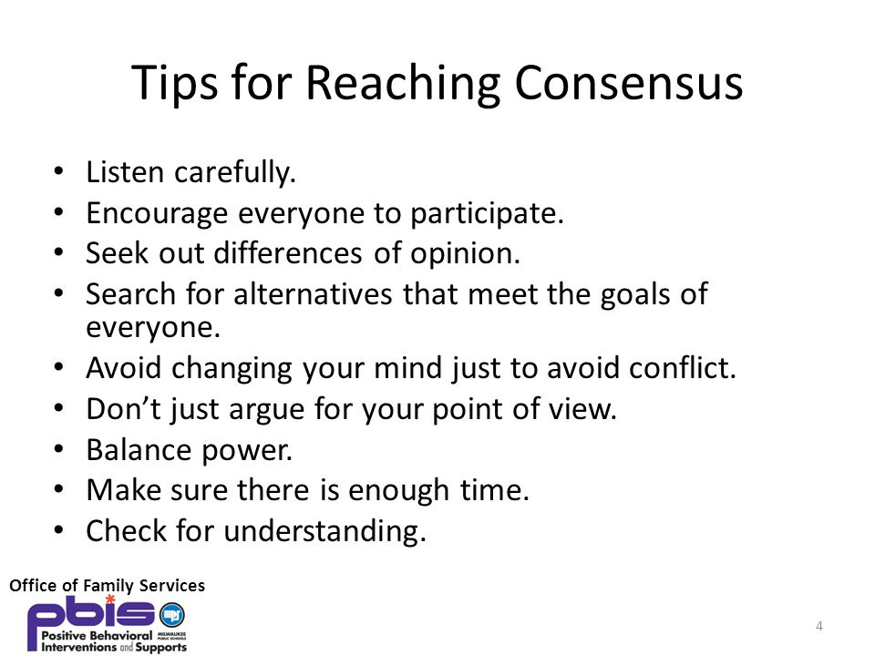 Tips for Reaching Consensus