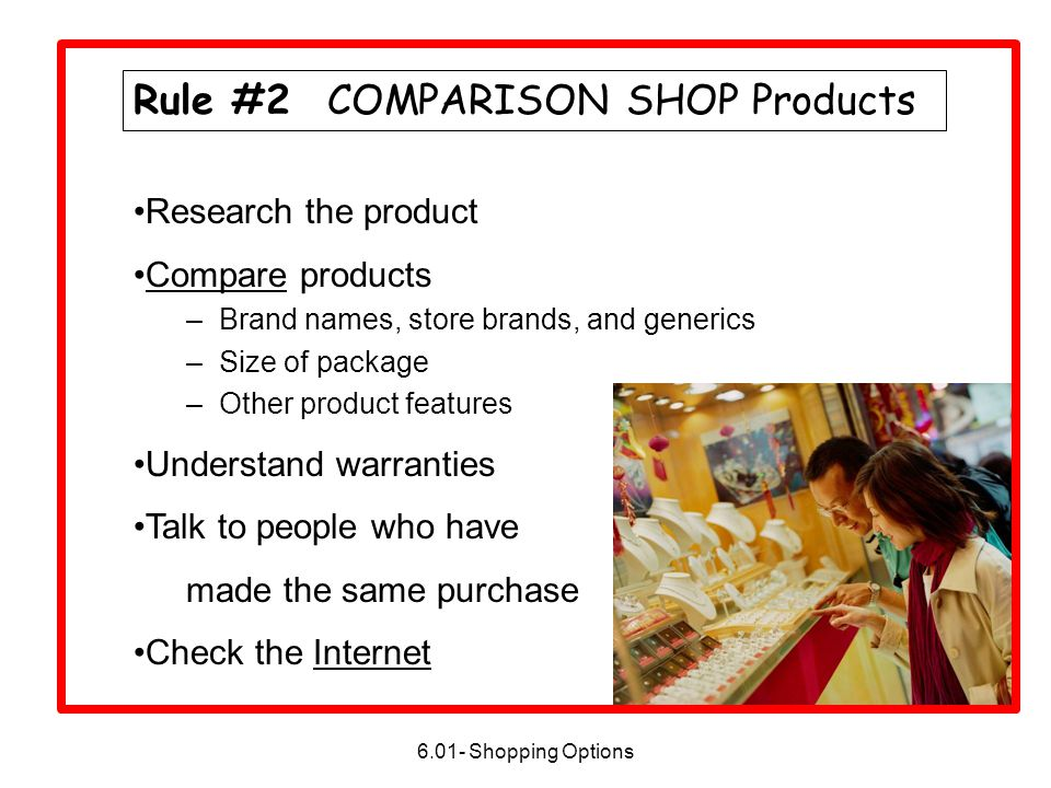 Rule #2 COMPARISON SHOP Products