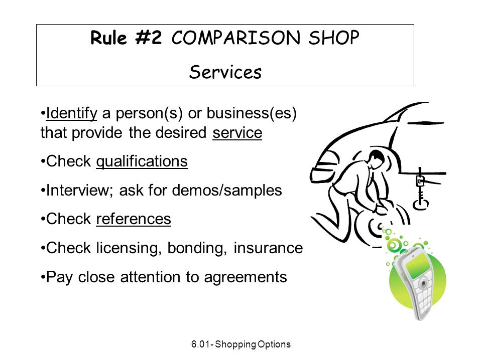 Rule #2 COMPARISON SHOP Services