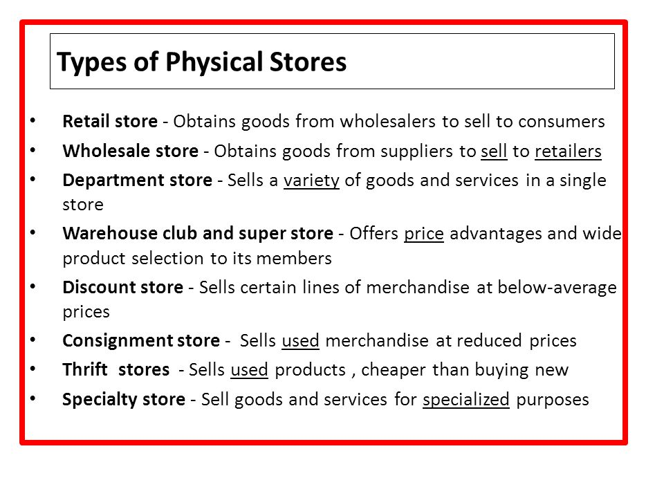 Types of Physical Stores