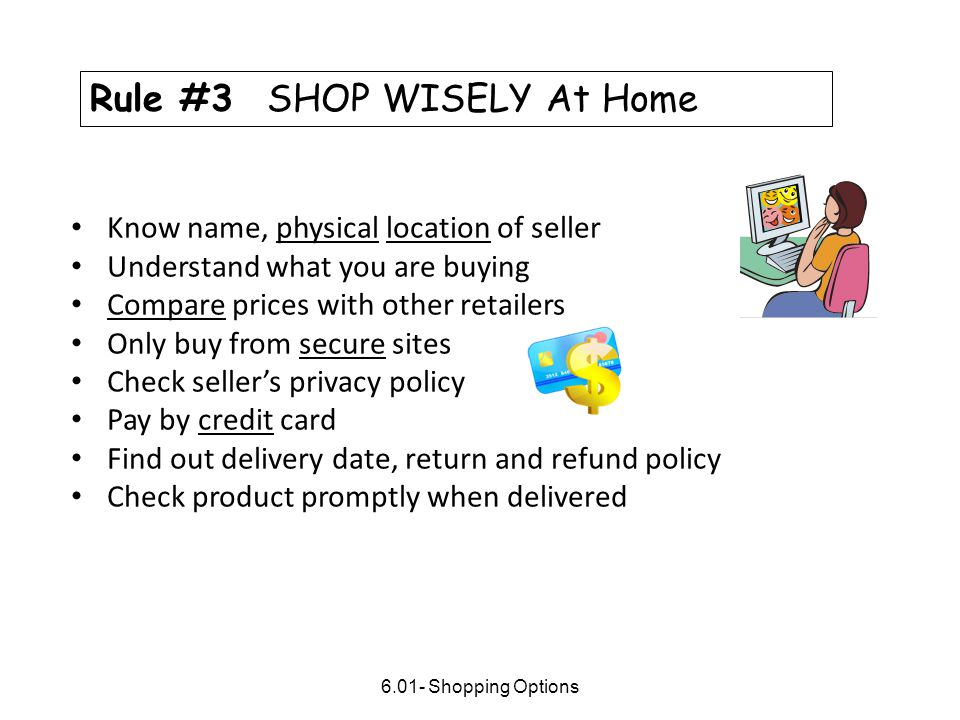 Rule #3 SHOP WISELY At Home