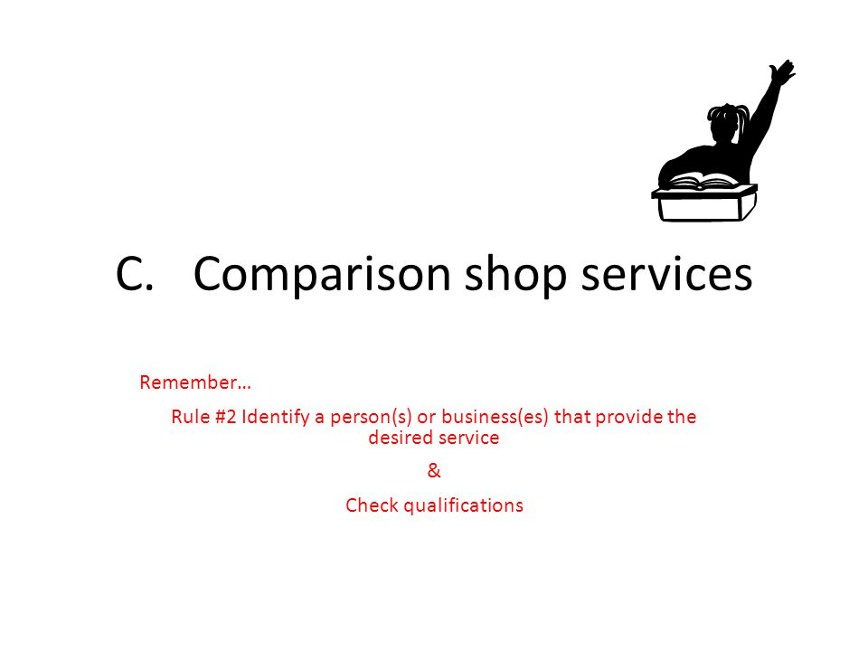 C. Comparison shop services
