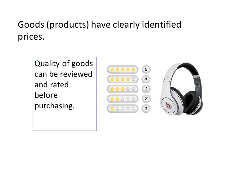 Goods (products) have clearly identified prices.