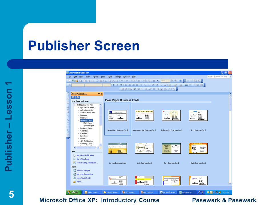 Publisher Screen