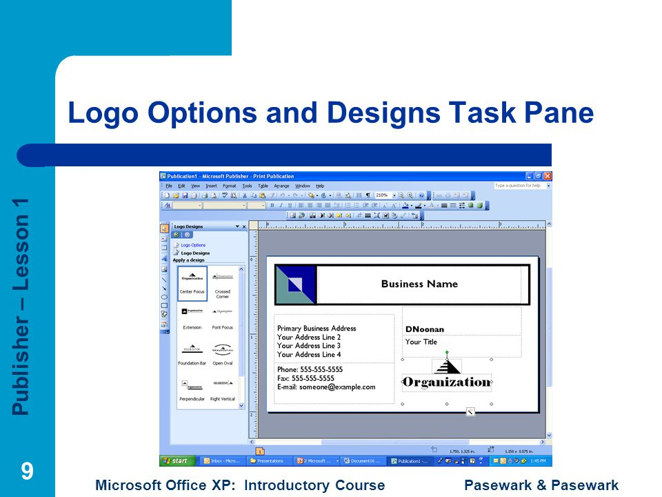 Logo Options and Designs Task Pane