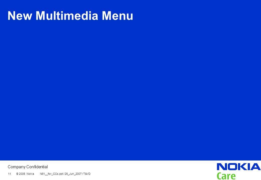 New Multimedia Menu 11 © 2005 Nokia N81__for_CCs.ppt / 26_Jun_2007 / T&VD
