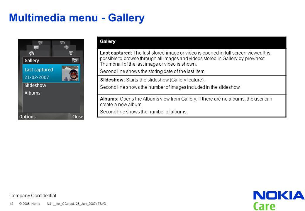 Multimedia menu - Gallery