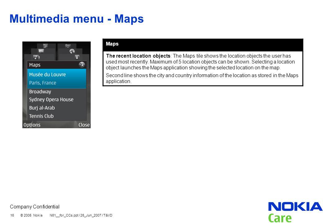 Multimedia menu - Maps Maps