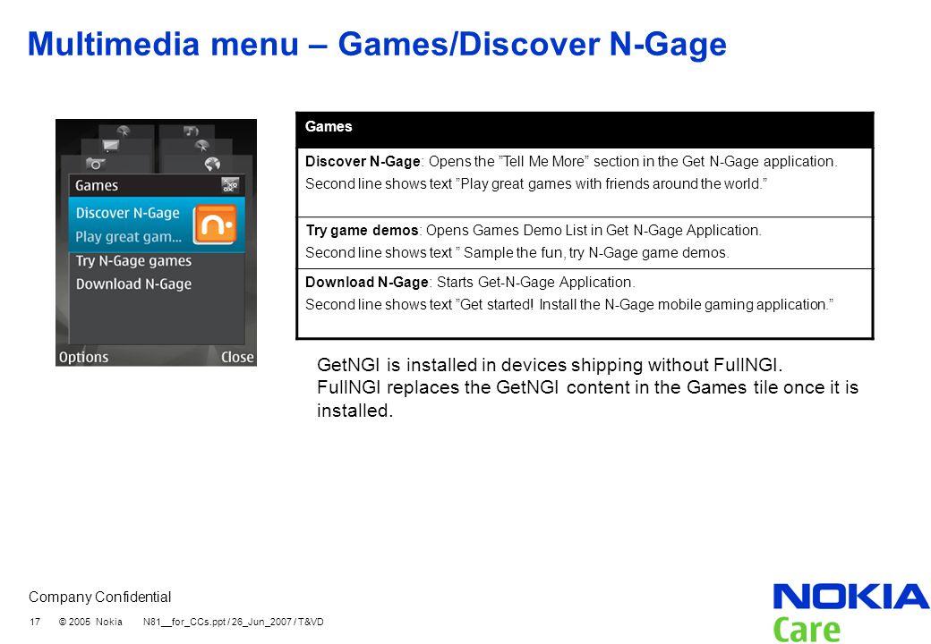 Multimedia menu – Games/Discover N-Gage