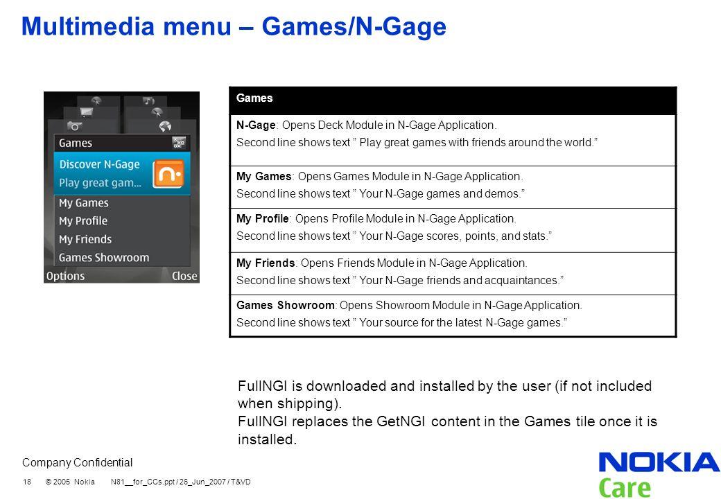 Multimedia menu – Games/N-Gage