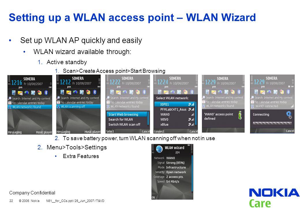 Setting up a WLAN access point – WLAN Wizard