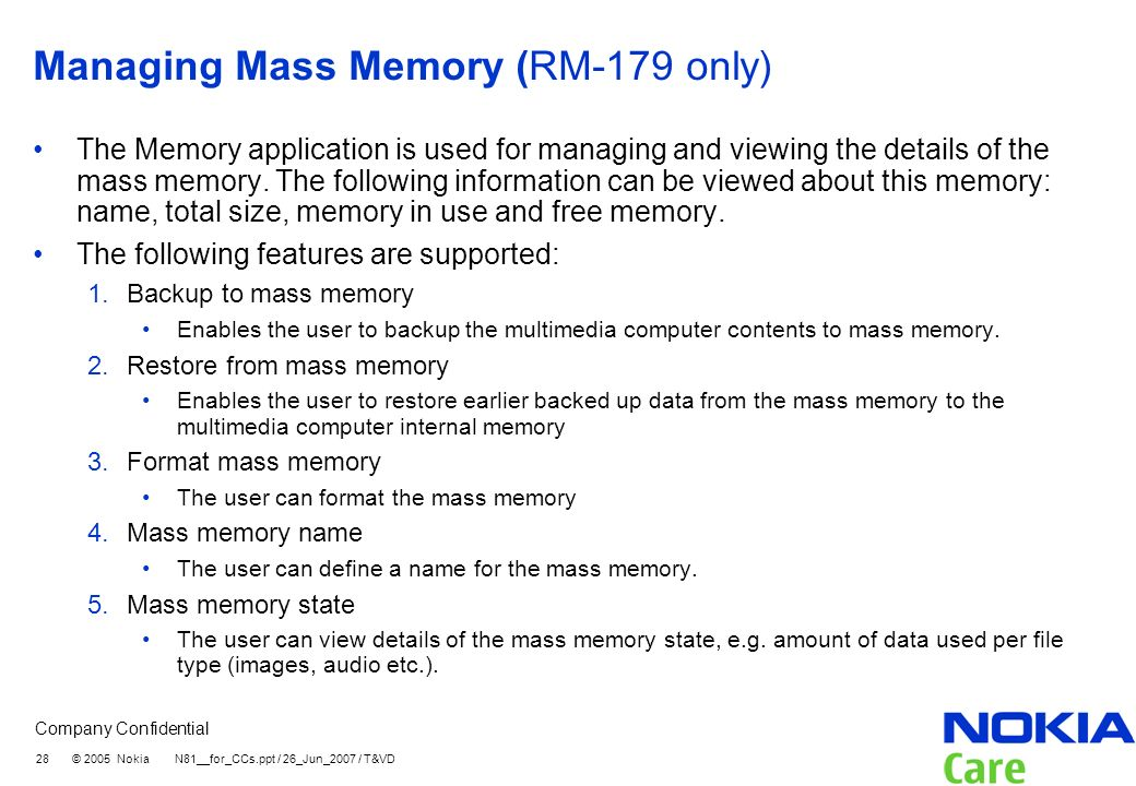 Managing Mass Memory (RM-179 only)