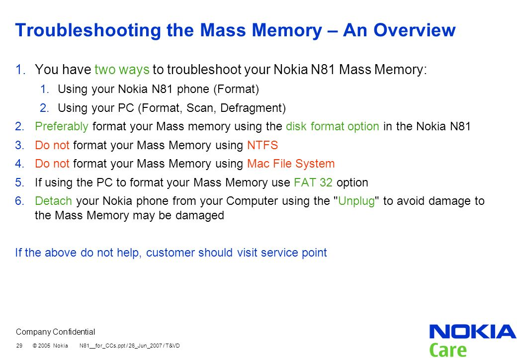 Troubleshooting the Mass Memory – An Overview