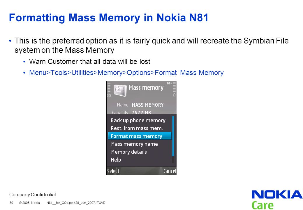 Formatting Mass Memory in Nokia N81
