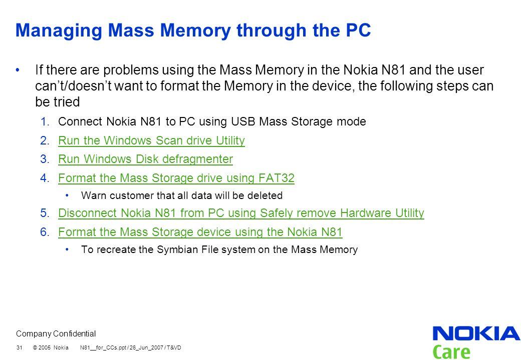 Managing Mass Memory through the PC