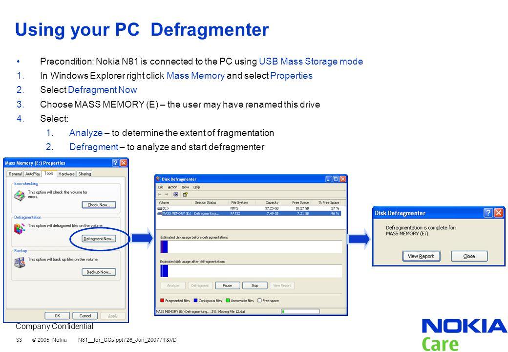Using your PC Defragmenter