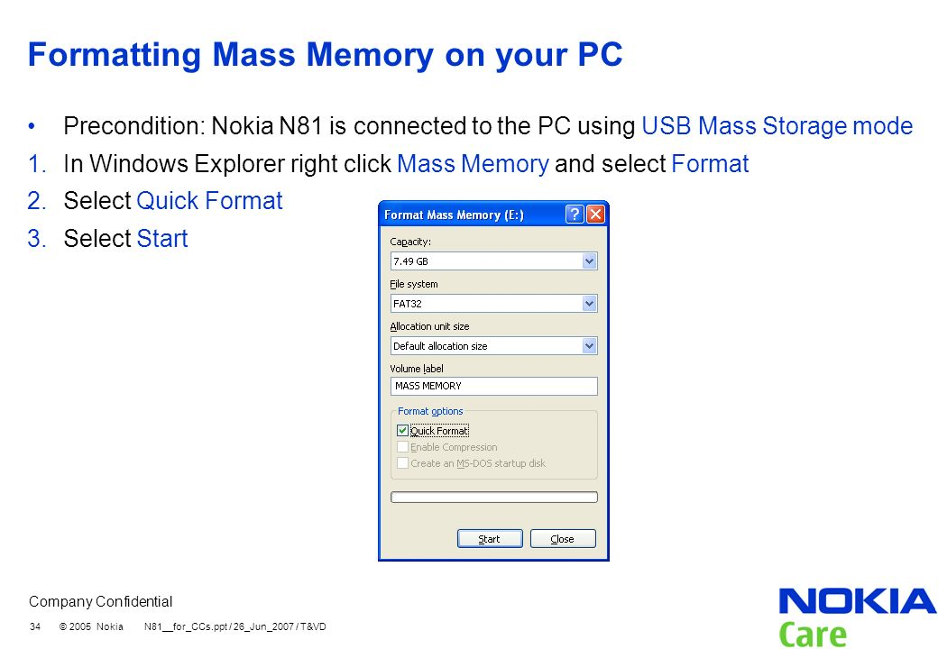 Formatting Mass Memory on your PC