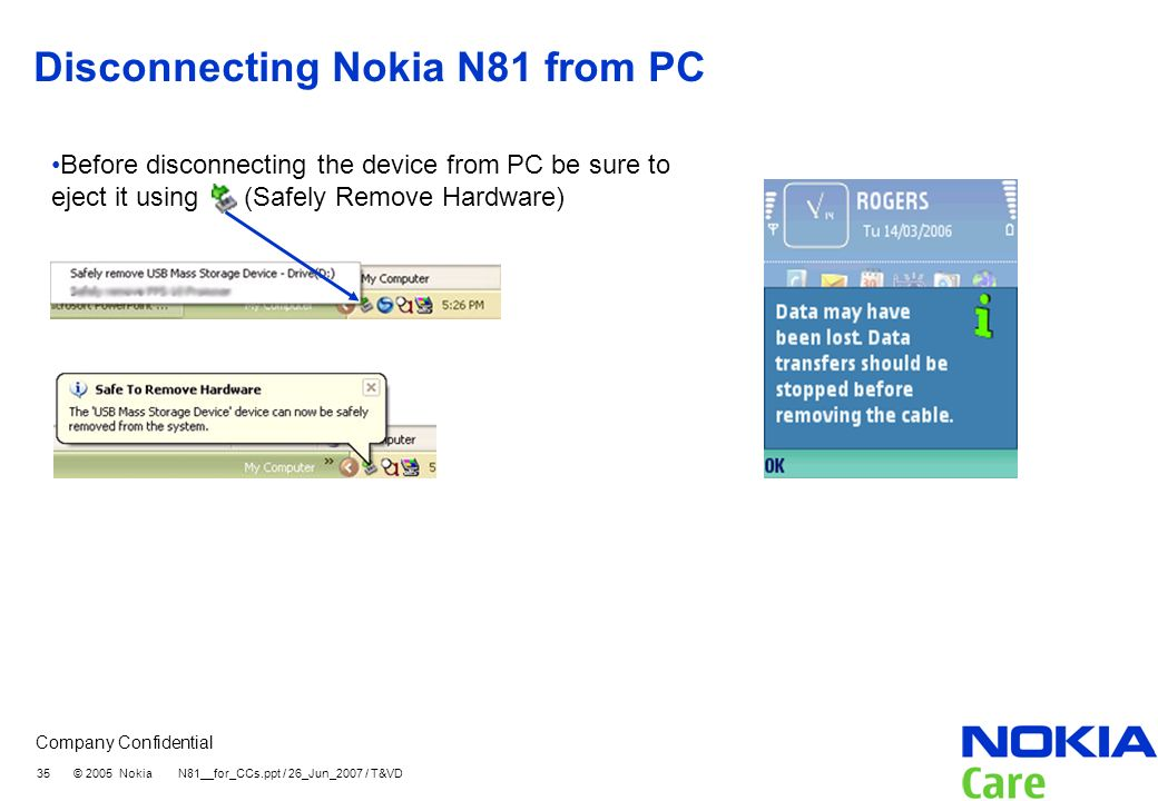 Disconnecting Nokia N81 from PC