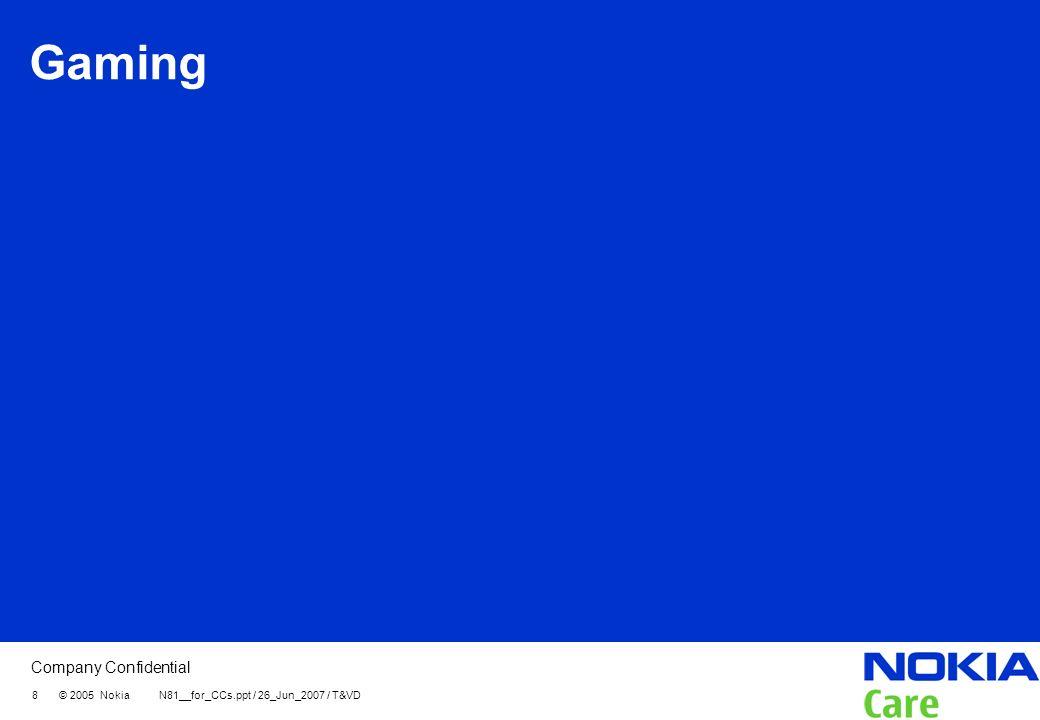 Gaming 8 © 2005 Nokia N81__for_CCs.ppt / 26_Jun_2007 / T&VD
