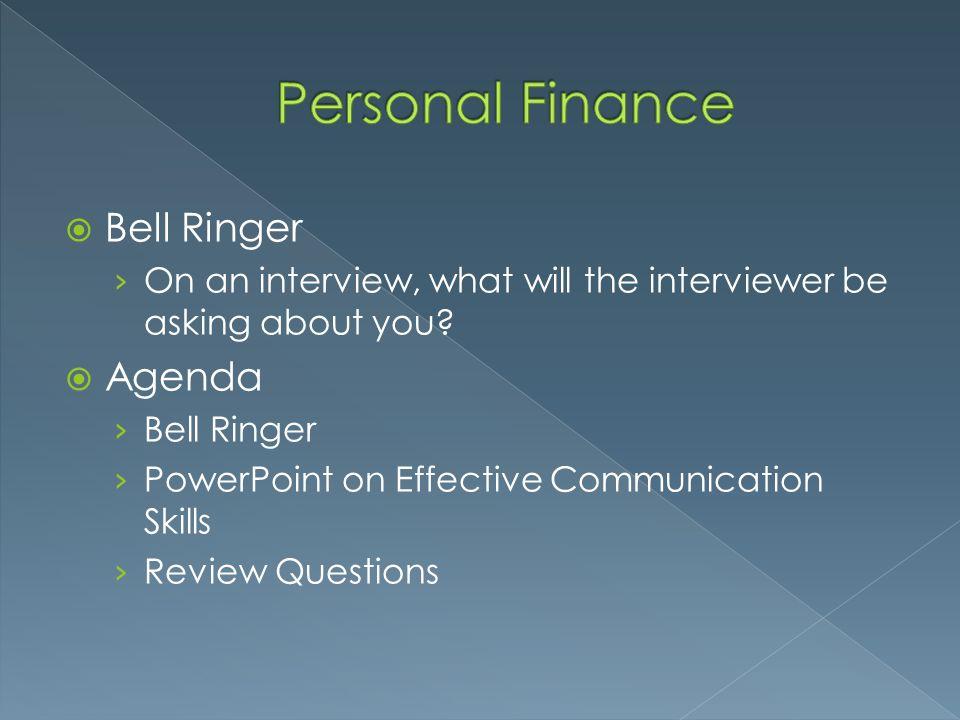 Personal Finance Bell Ringer Agenda