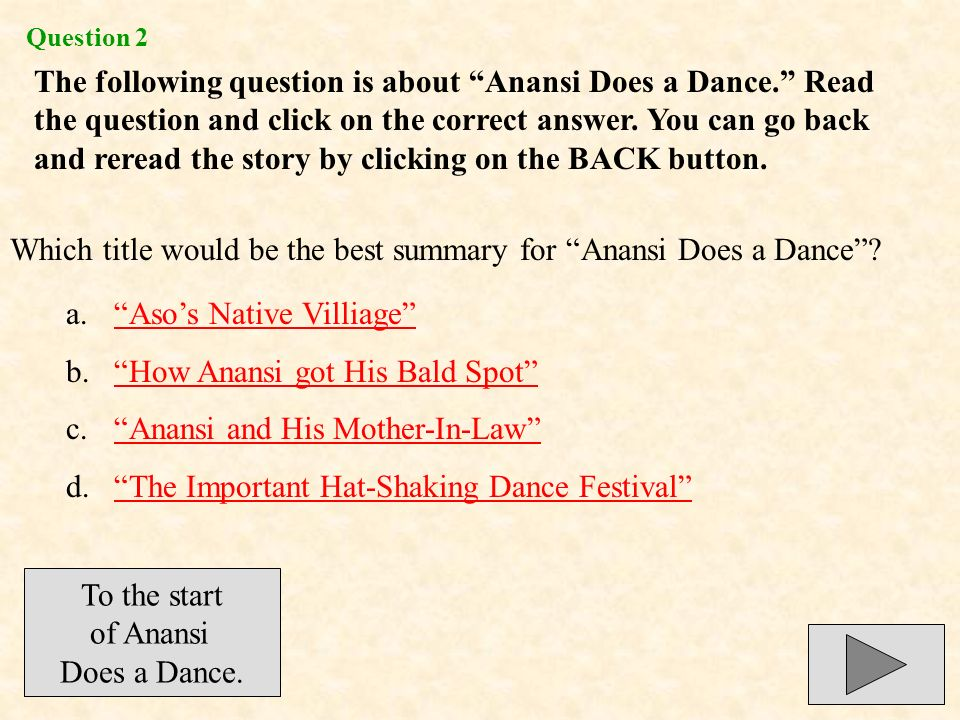 Which title would be the best summary for Anansi Does a Dance