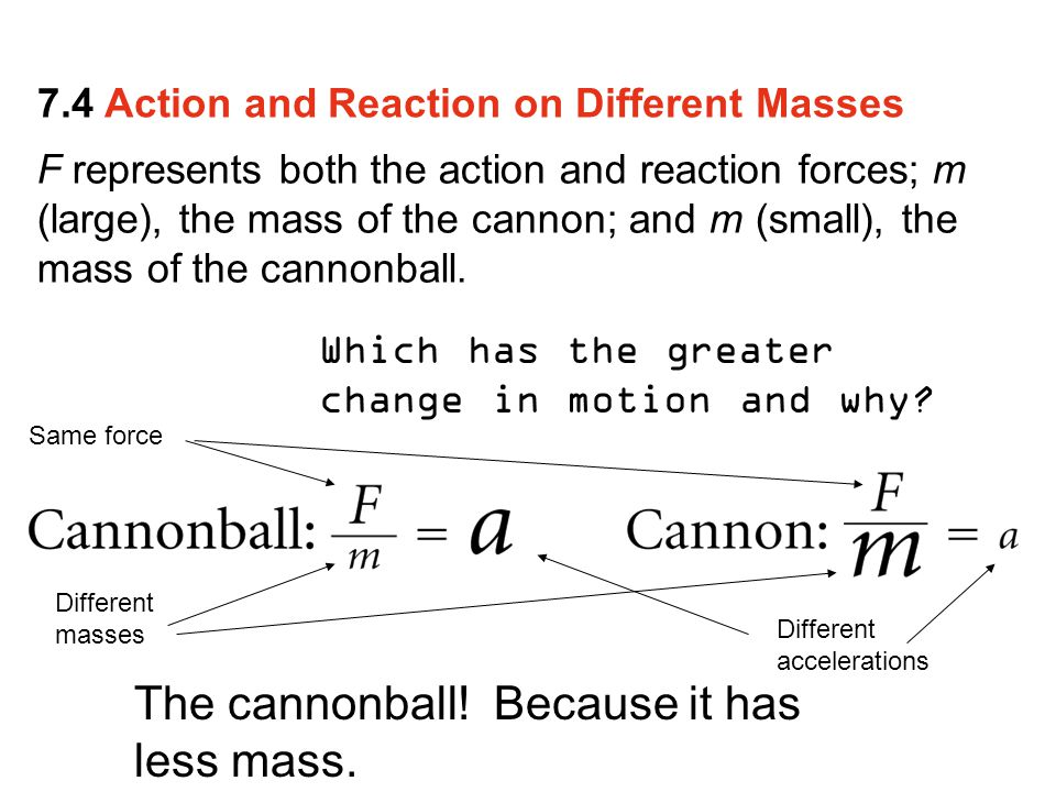 The cannonball! Because it has less mass.