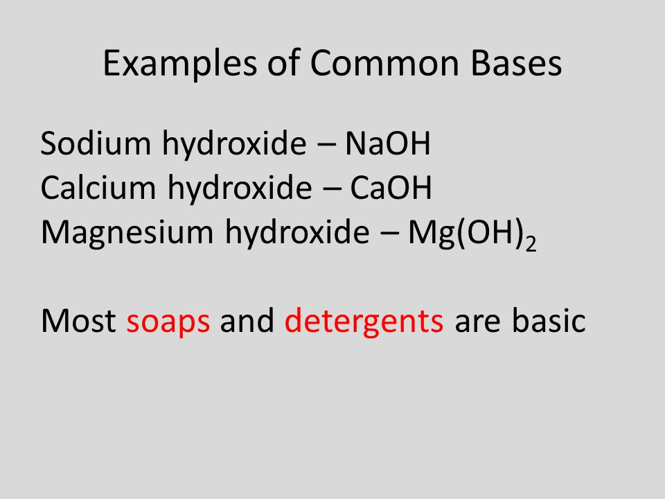 Examples of Common Bases