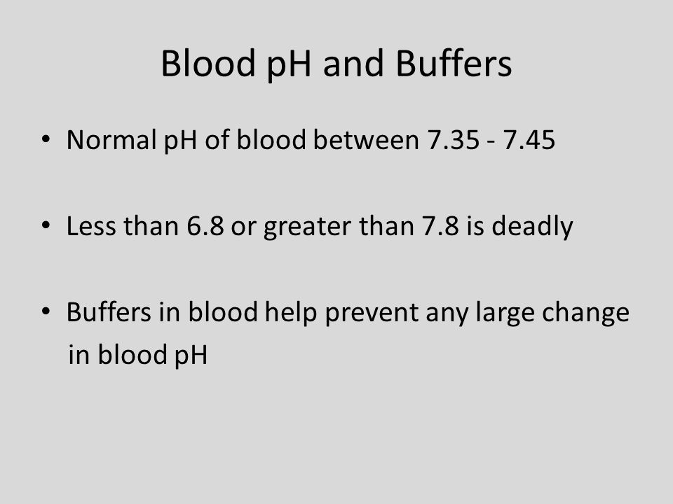 Blood pH and Buffers Normal pH of blood between 7.35 - 7.45