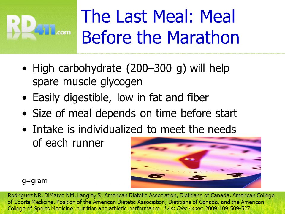 The Last Meal: Meal Before the Marathon