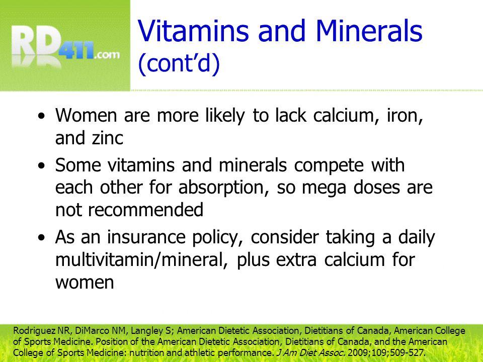 Vitamins and Minerals (cont'd)