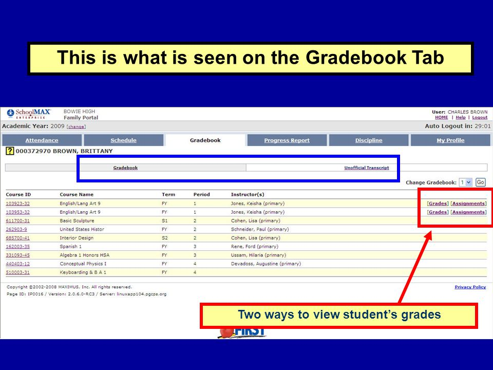 This is what is seen on the Gradebook Tab