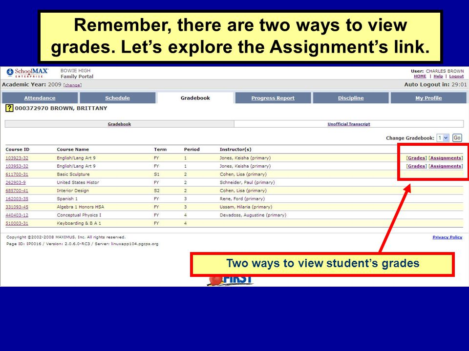 Two ways to view student's grades