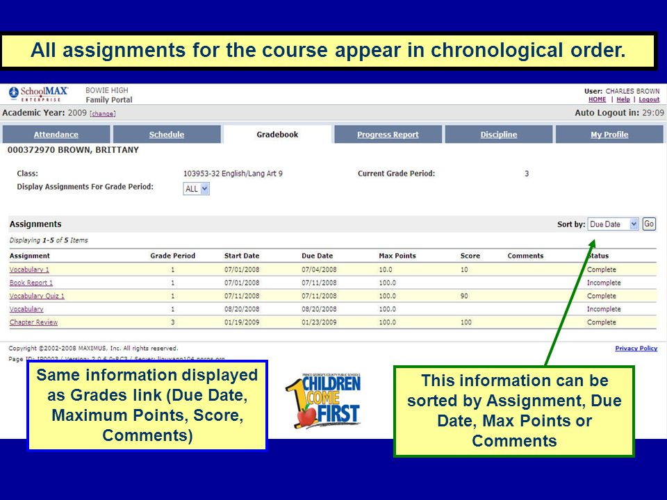 All assignments for the course appear in chronological order.
