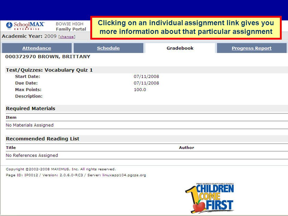 Clicking on an individual assignment link gives you more information about that particular assignment