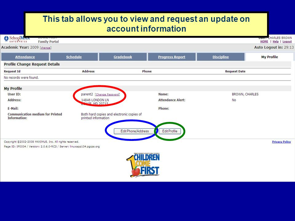 This tab allows you to view and request an update on account information