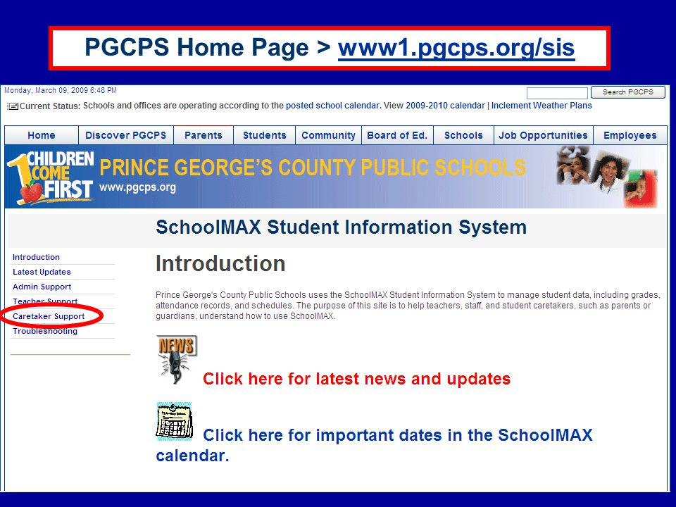 PGCPS Home Page > www1.pgcps.org/sis