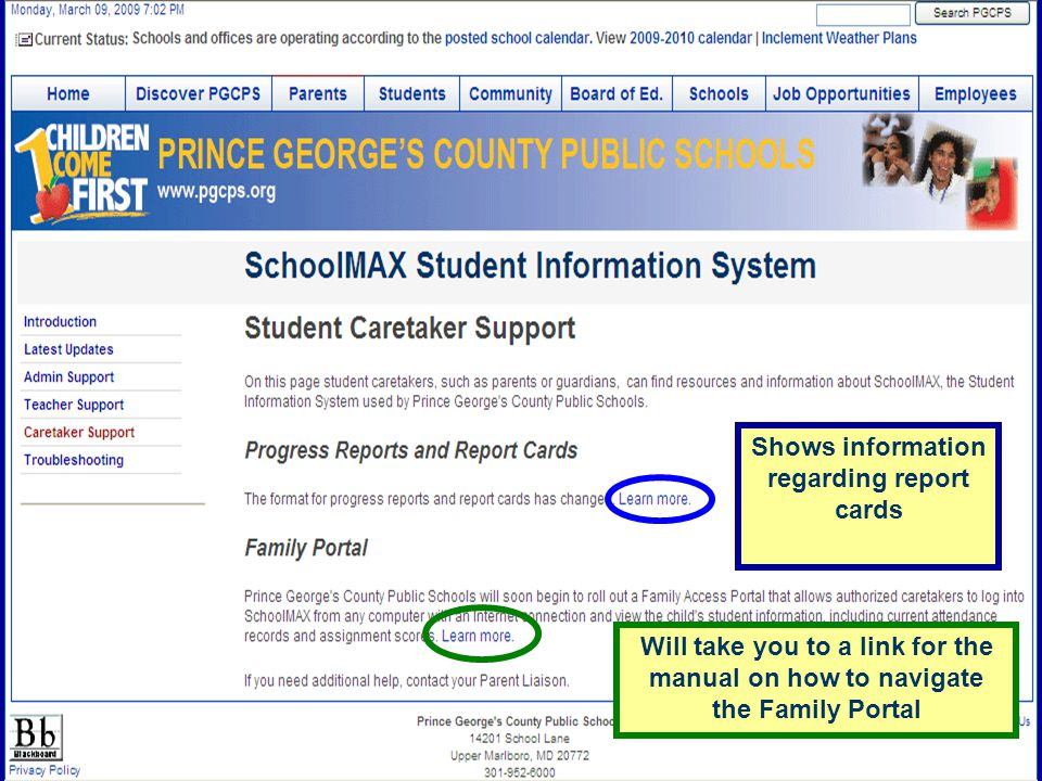 Shows information regarding report cards